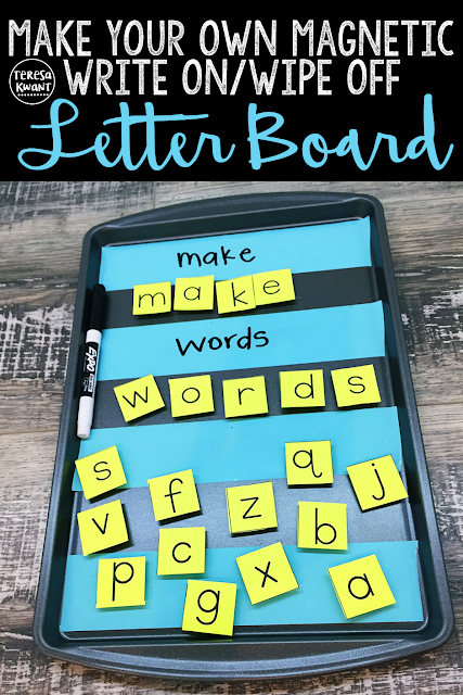 Make your own magnetic letter board, that is also dry erase! Have fun with literacy centers, learning letters, reading and writing. This is an easy, DIY  project, that only takes minutes, You and your kids or students will love how engaging it is. Learning letters and reading just became more fun!